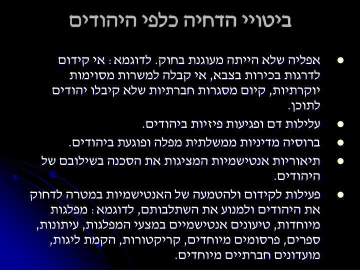 ביטויי הדחיה כלפי היהודים