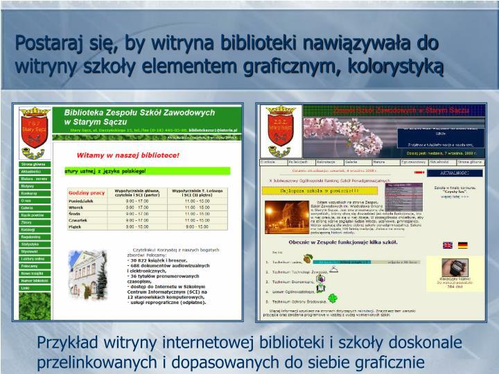 Postaraj się, by witryna biblioteki nawiązywała do witryny szkoły elementem graficznym, kolorystyką