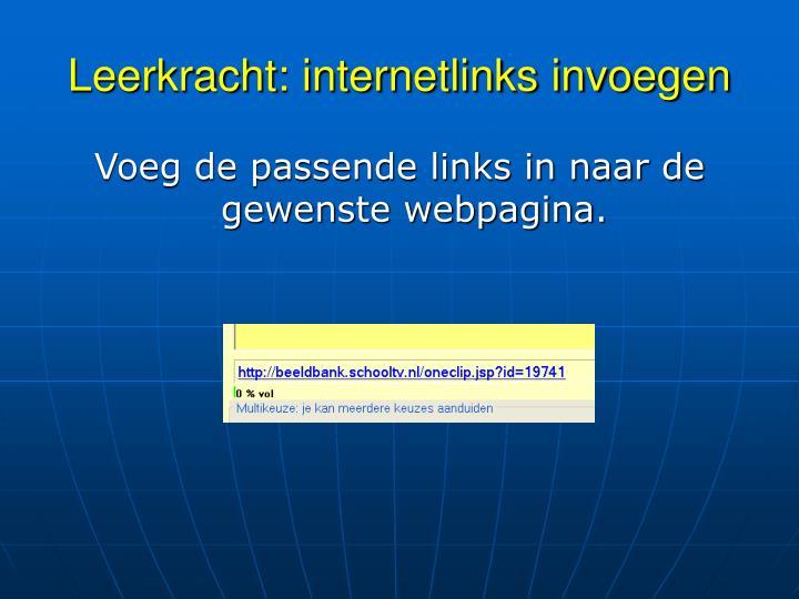 Leerkracht: internetlinks invoegen