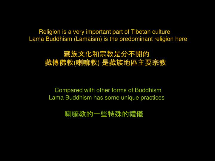 Religion is a very important part of Tibetan culture