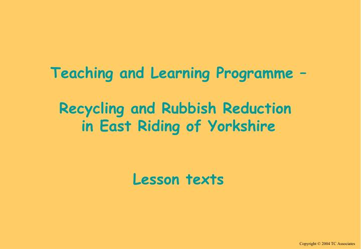 Teaching and Learning Programme –