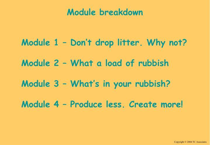 Module breakdown