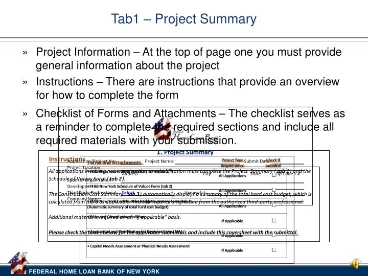 Tab1 project summary
