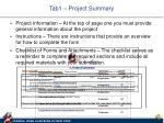 tab1 project summary