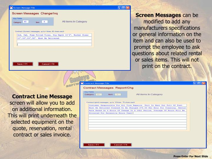 Screen Messages