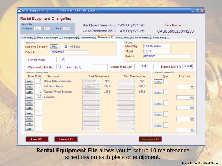 Rental Equipment File