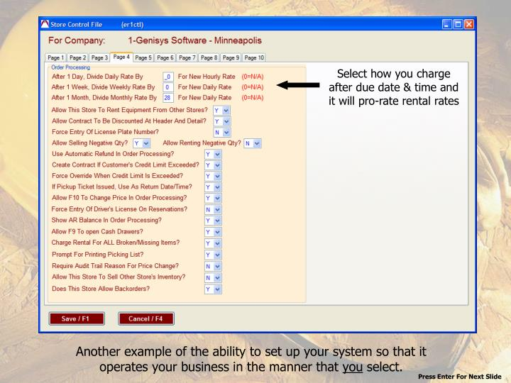 Select how you charge after due date & time and it will pro-rate rental rates