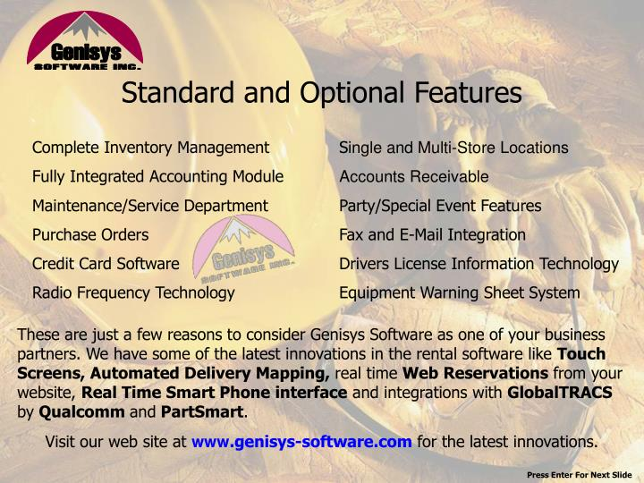 Standard and Optional Features