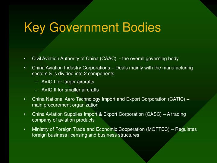 Key Government Bodies