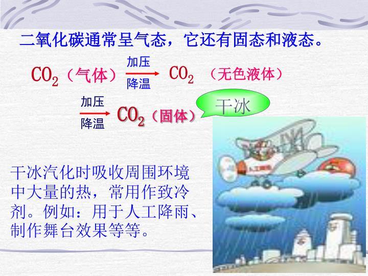 二氧化碳通常呈气态,它还有固态和液态。