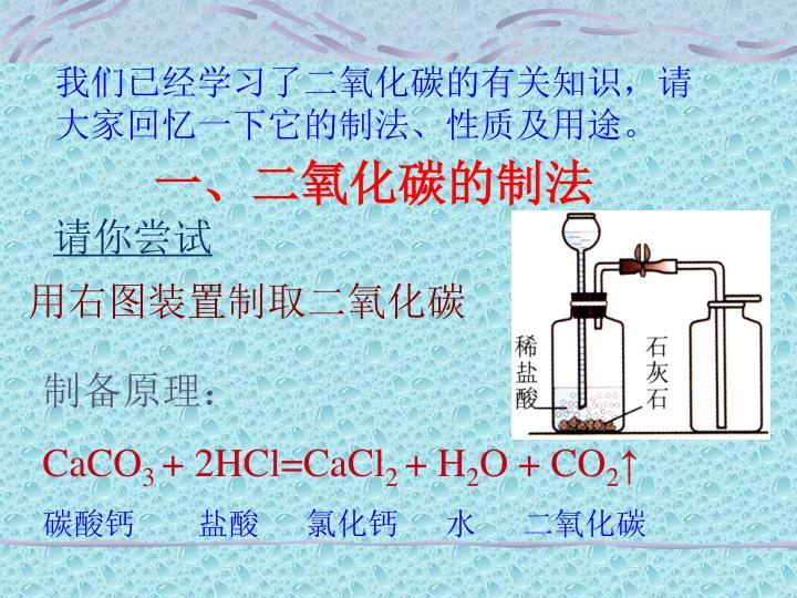我们已经学习了二氧化碳的有关知识,请大家回忆一下它的制法、性质及用途。