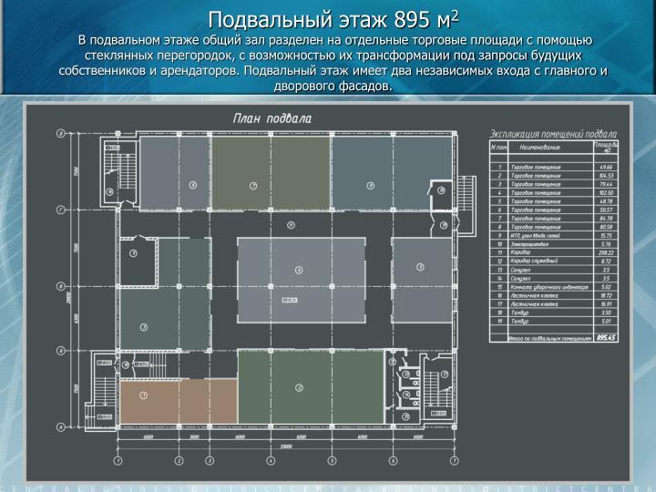 Подвальный этаж 895 м