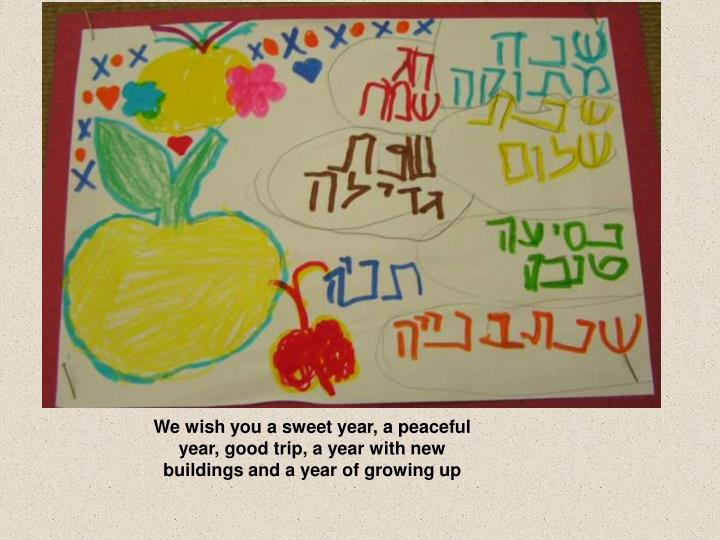 We wish you a sweet year, a peaceful year, good trip, a year with new buildings and a year of growing up