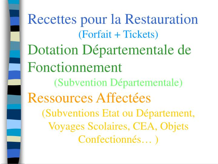 Recettes pour la Restauration