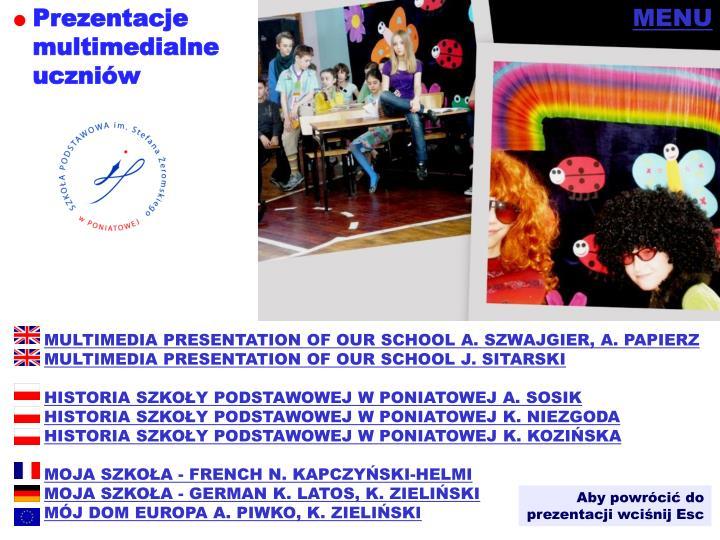 Prezentacje multimedialneuczniów