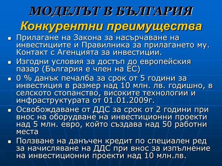 МОДЕЛЪТ В БЪЛГАРИЯ
