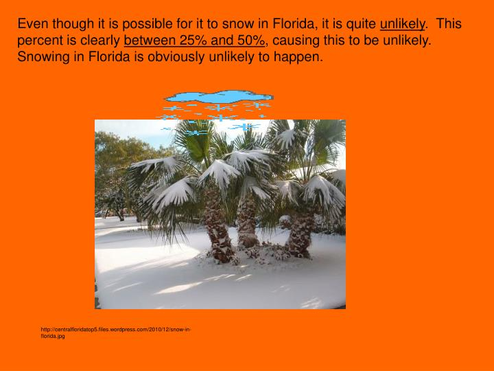 Even though it is possible for it to snow in Florida, it is quite