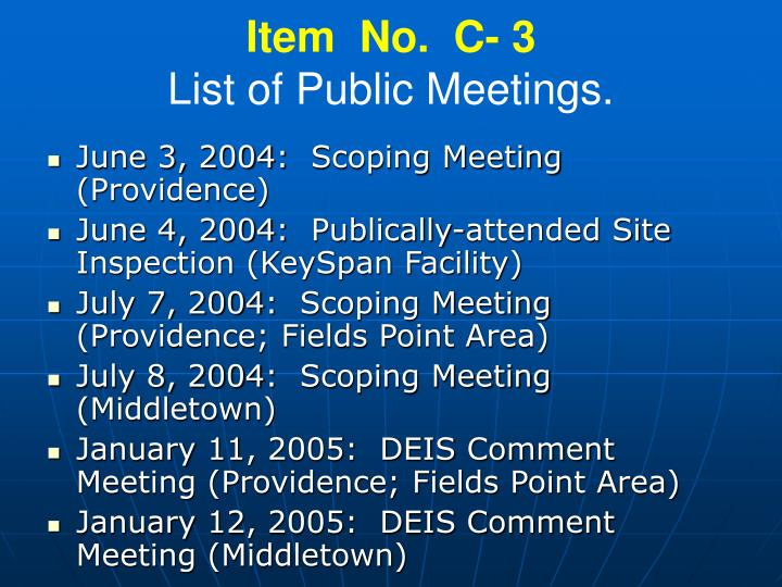 Item no c 3 list of public meetings