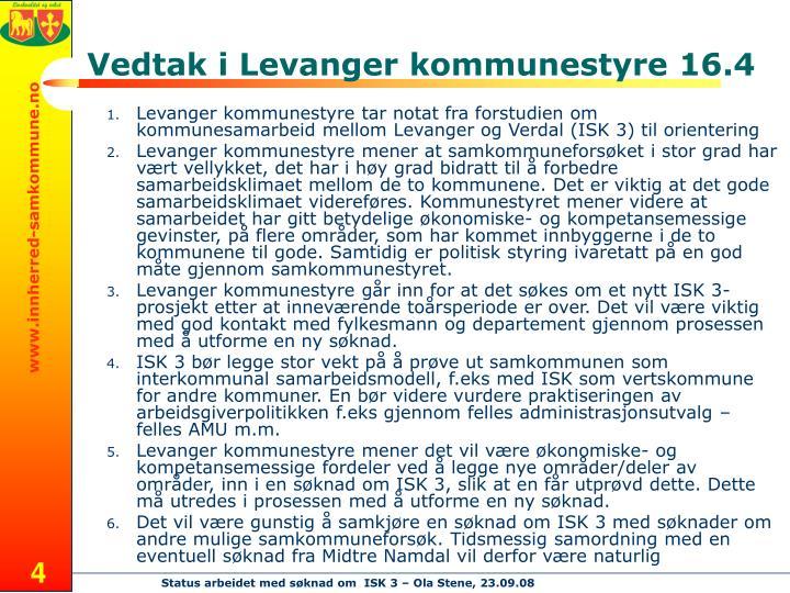 Vedtak i Levanger kommunestyre 16.4