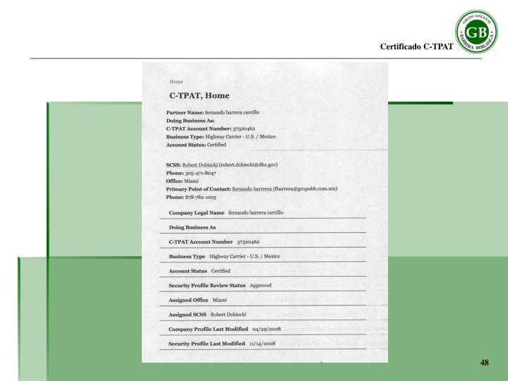 Certificado C-TPAT