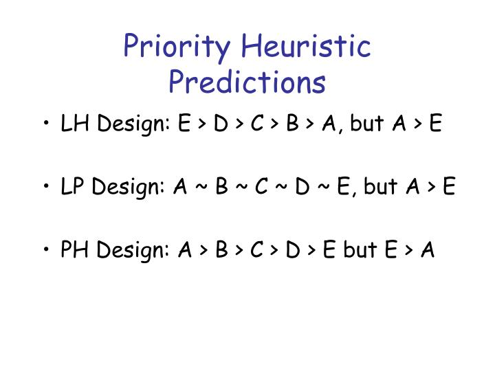 Priority Heuristic Predictions