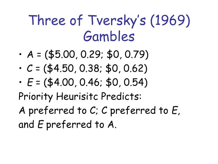 Three of Tversky's (1969) Gambles