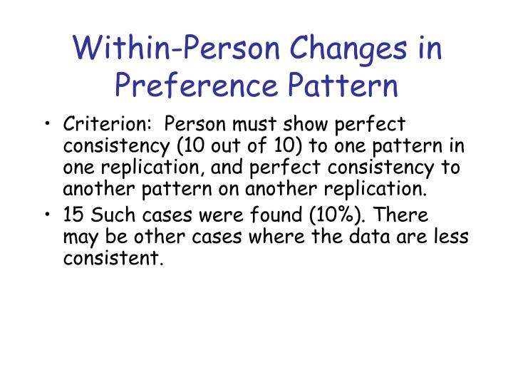 Within-Person Changes in Preference Pattern