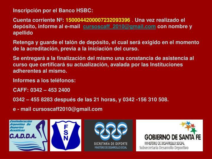 Inscripción por el Banco HSBC: