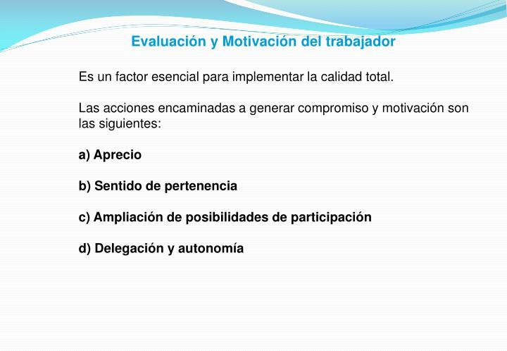 Evaluación y Motivación del trabajador