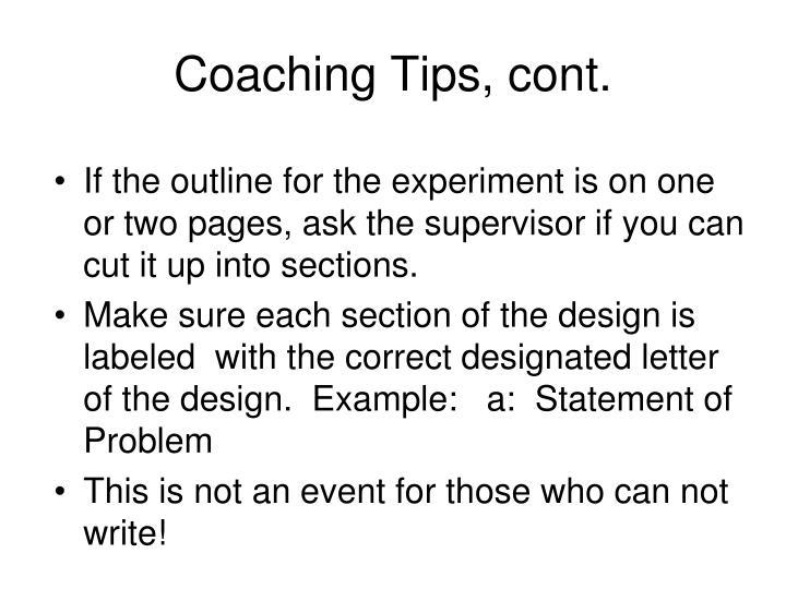 Coaching Tips, cont.