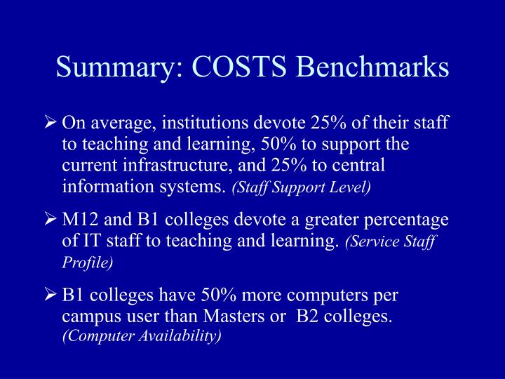 Summary: COSTS Benchmarks