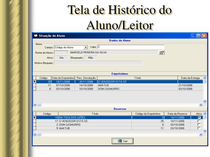 Tela de Histórico do Aluno/Leitor