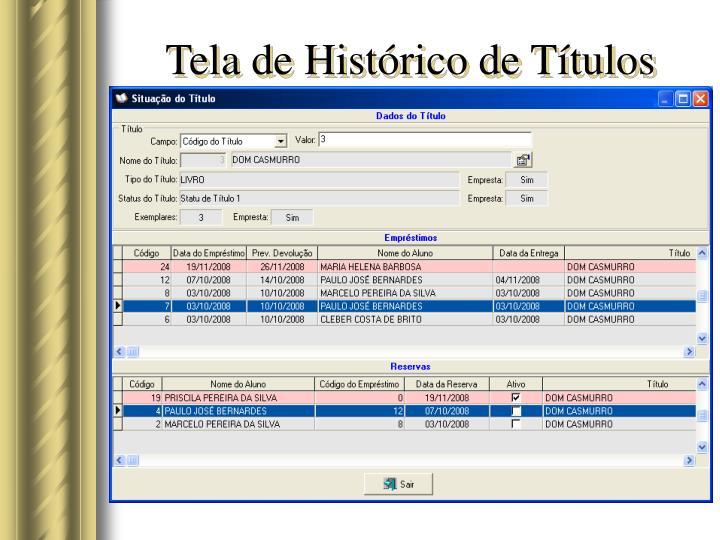 Tela de Histórico de Títulos