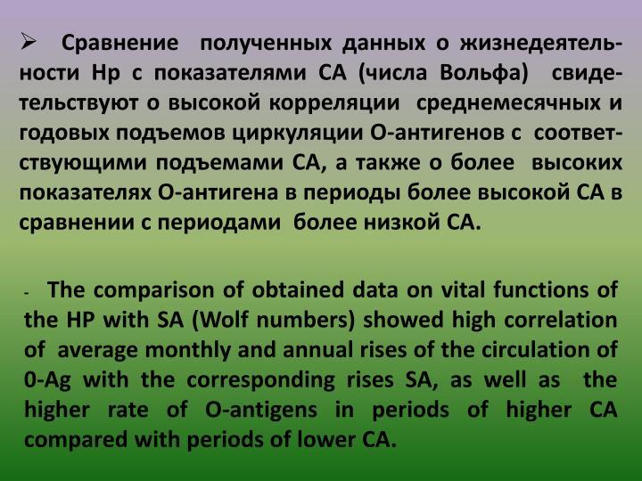 Сравнение  полученных данных о жизнедеятель