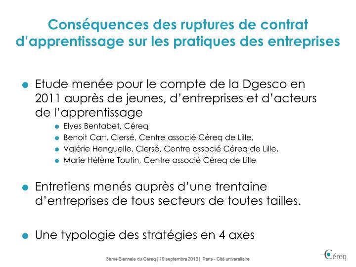 Conséquences des ruptures de contrat d'apprentissage sur les pratiques des entreprises