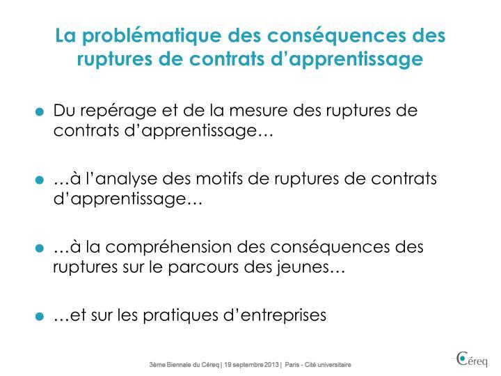 La problématique des conséquences des ruptures de contrats d'apprentissage