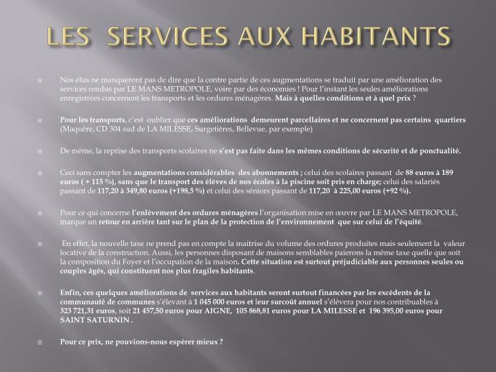 LES  SERVICES AUX HABITANTS
