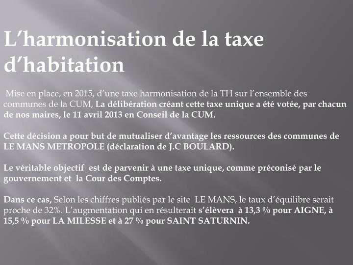 L'harmonisation de la taxe d'habitation