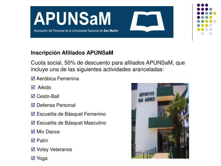 Inscripción Afiliados APUNSaM