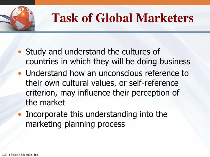 Task of Global Marketers