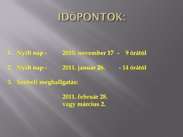 IDŐPONTOK: