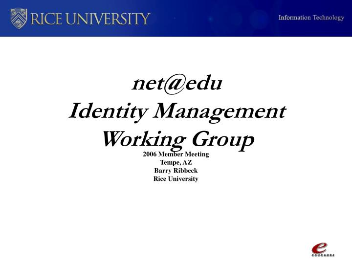 Net@edu identity management working group