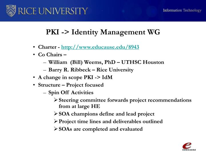 PKI -> Identity Management WG