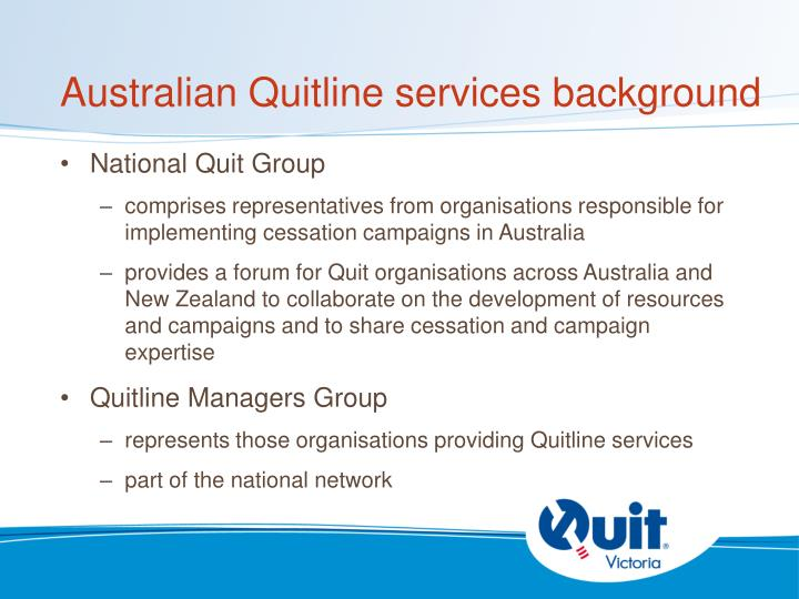 Australian Quitline services background