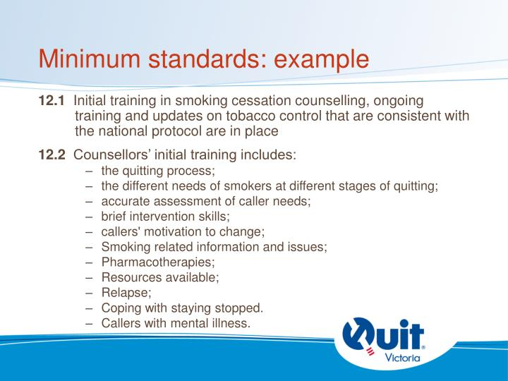 Minimum standards: example