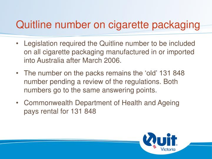Quitline number on cigarette packaging