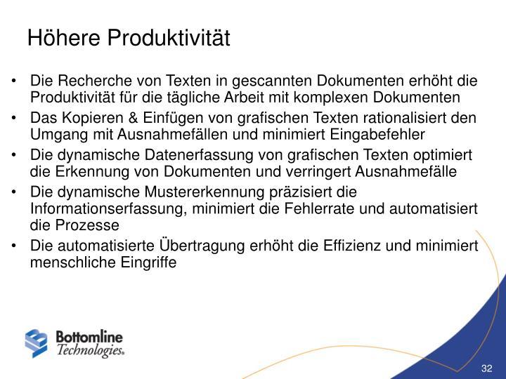 Höhere Produktivität