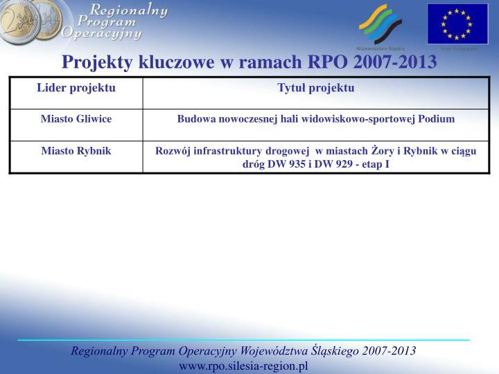 Projekty kluczowe w ramach RPO 2007-2013