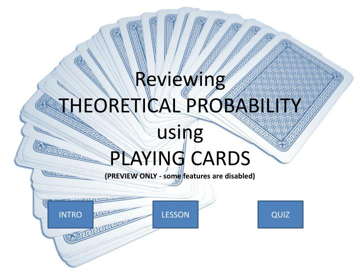 Reviewing theoretical probability using playing cards preview only some features are disabled