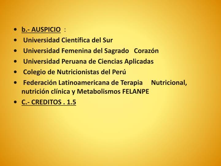 b.- AUSPICIO